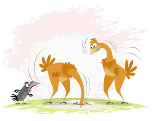 Two ostriches and crow