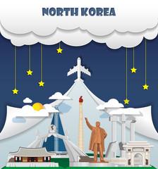 North Korea travel background Landmark Global Travel And Journey Infographic Vector Design Template. illustration.