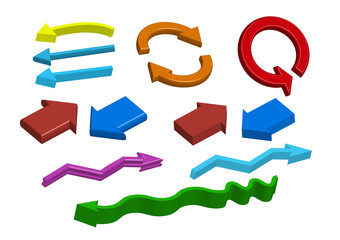 Group of different color 3d Arrows. good for sign. Vector Illustration