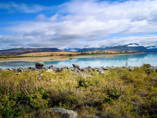 Idyllic lake Tekapo, Canterbury Region, New Zealand - Stock Image