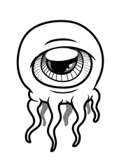 An alien monster with a single eye in its head and with tentacle like an octopus. Vector Illustration