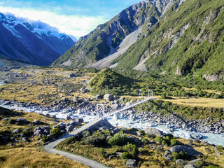 Swingbridge in Mt Cook National Park Scenic, New Zealand