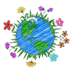 Handmade drawing planet Earth and flowers, nature conservation, ecology