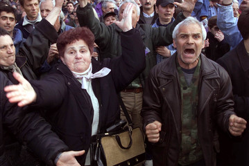SUPPORTERS OF SLOBODAN MILOSEVIC DEMONSTRATE IN BELGRADE.