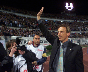 GERMAN COACH CHRISTOPH DAUM OF BESIKTAS WAVES TO SUPPORTERS IN ISTANBUL.
