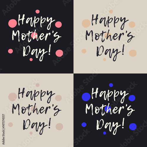 Set of stylish happy mothers day greeting cards with pink and blue set of stylish happy mothers day greeting cards with pink and blue dots modern hand m4hsunfo