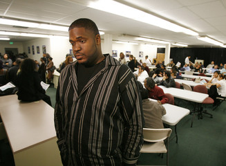 Willis is pictured during a job fair at the Southeast LA-Crenshaw WorkSource Center in Los Angeles