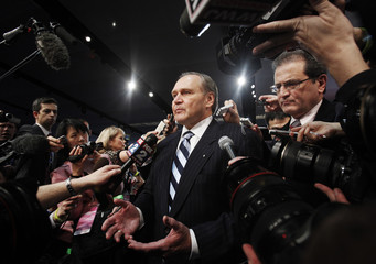 Chrysler Chief Executive Officer Nardelli takes questions after the Chrysler news conference during the North American International Auto Show in Detroit