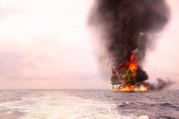 Offshore oil and rig construction damaged because worst case or fire case which can't control situation. Oil spill into the sea because incorrect of operation and accident in job out of safety rule.