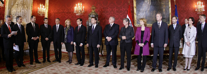 Austria's new Government is sworn in by President Fischer in Vienna