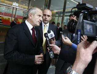 Kosovo President Fatmir Sejdiu speaks with the media after meeting with Serbian officials outside the EU Mission to the United Nations in New York