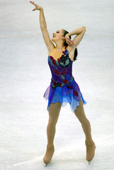SARAH MEYER PERFORMS FREE SKATING ROUTINE.