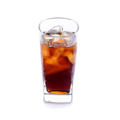 Cold Cola with ice in a sweaty glass on white background