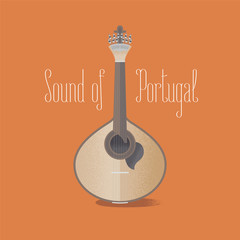 Traditional Portuguese guitar fado vector illustration