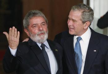 U.S. President Bush welcomes Brazil's President Lula upon arrival at White House in Washington