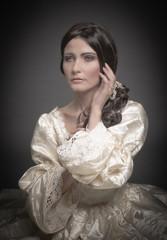 portrait of woman in vintage dress