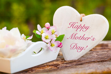 Happy Mother's Day, heart and blossoms