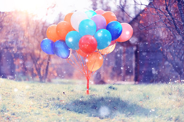 many colorful balloons nature landscape