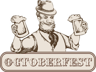 Oktoberfest card: man in bavarian hat with beer mug. Engraving style