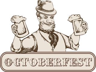 Oktoberfest card: man in bavarian hat with beer mug. Engraving style