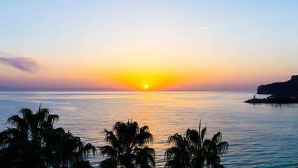 sunset on the sea. wallpaper