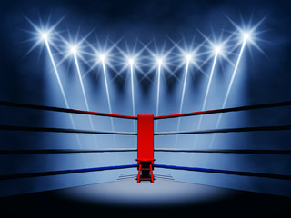 Boxing ring corner and floodlights , Boxing fight night event