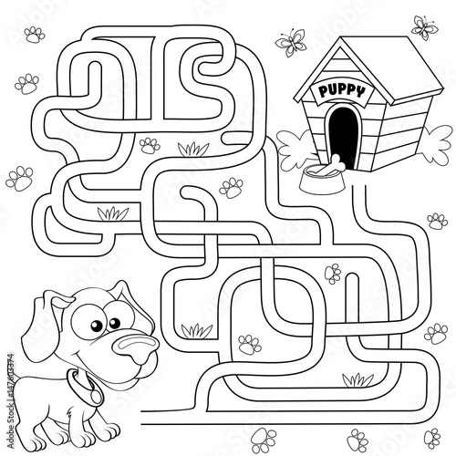 Help Puppy Find Path To His House Labyrinth Maze Game For Kids Black
