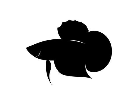 graphic silhouette betta fish, vector