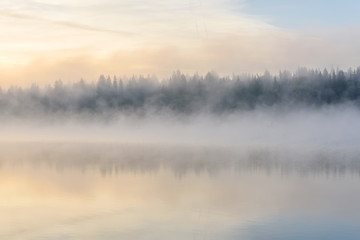 lake sunrise fog reflection forest