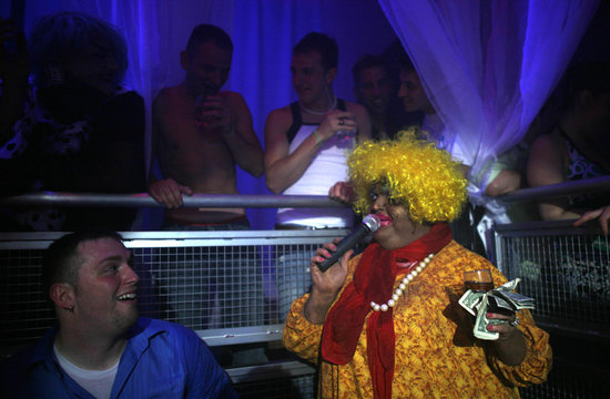Knipp, as the blackface character Shirley Q. Liquor, draws laughter from fans at Fusion night club in Louisville