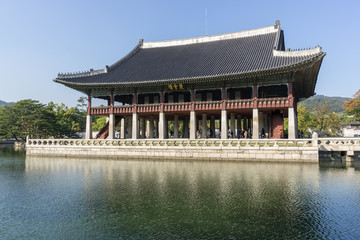 gyeonghoeru pavilion reflection. taken in gyeongbokgung palace in seoul, south korea