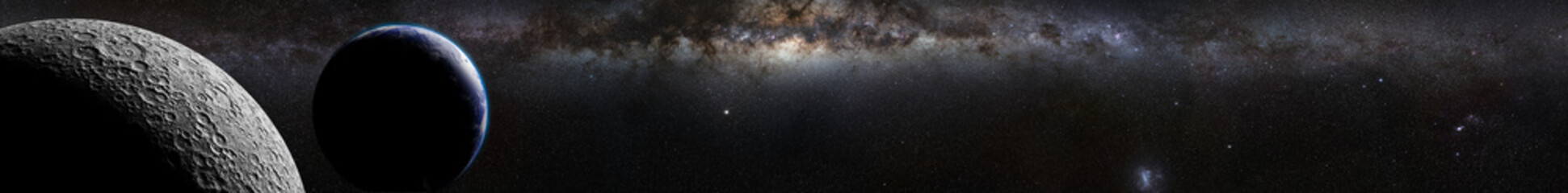 Moon in front of Earth, Sun and the Milky Way galaxy