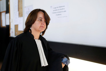 Lawyer Beatrice Dupuy for French newspaper La Provence leaves the courts in Nanterre, near Paris