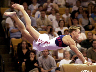 AMERICAN GYMNAST TOWNSEND COMPETES ON VAULT DURING OLYMPIC TRIALS.