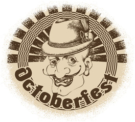 Oktoberfest card: man in bavarian hat