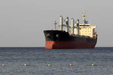Eilat Israel 2017, big bulk carrier sailing