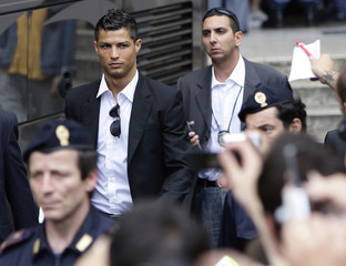 Manchester United's Cristiano Ronaldo leaves the team hotel after losing their UEFA Champions League final soccer match against Barcelona in Rome