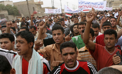 Protesters march after Friday prayers in Basra