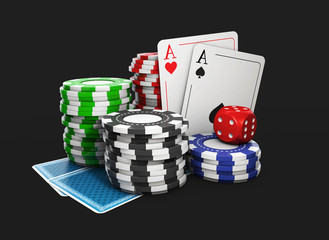 3D Illustration of a Background with Casino Elements, isolated black