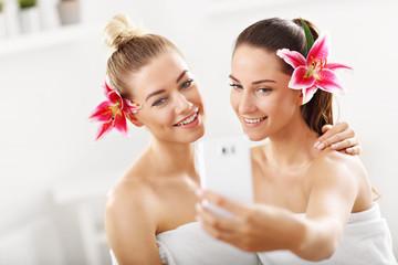 Two beautiful women in spa