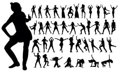 illustration, silhouettes people dancing, collection
