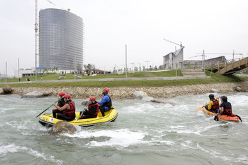 Rafters go down the canal 'Agua brava' during its media presentation in Zaragoza