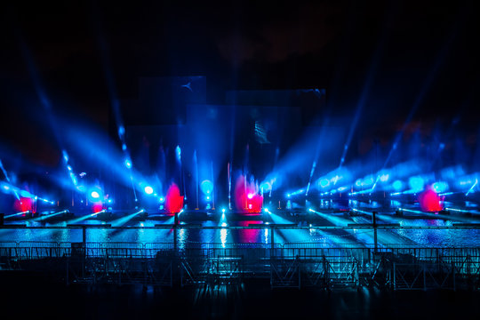 Moscow International Festival Circle of light. Laser colorful fountain show on Moscow rowing basin