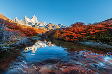 Fitz Roy mountain near El Chalten, in the Southern Patagonia, on the border between Argentina and Chile. Autumn view from the trail. Wall mural