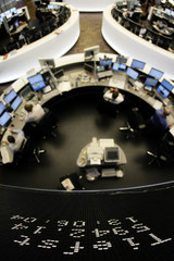 The day's lowest level of the German DAX is seen on the index board at Frankfurt's stock exchange