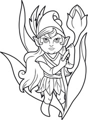 Cartoon cute elf standing near a flower