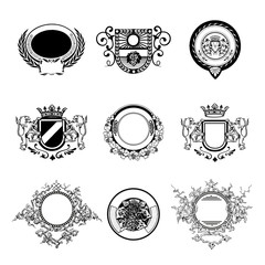 Wine badges set. Hand made Vector illustration