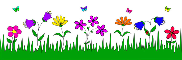 Handmade drawing  flowers, nature conservation, ecology