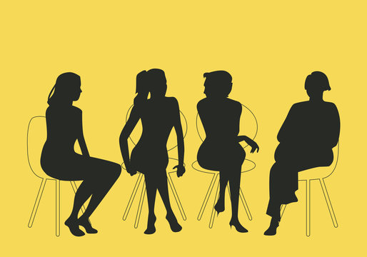 Group of four women sitting together talking together. Silhouettes vector illustration