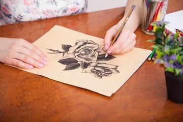 Closeup of drawing at the desk